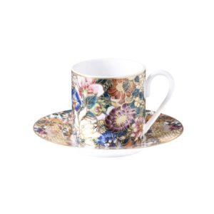 Golden flowers espresso cup & saucer