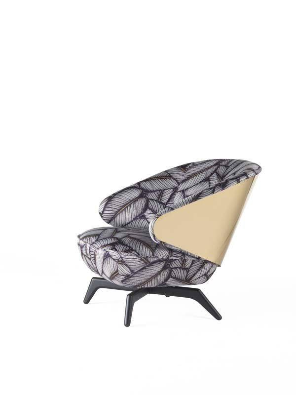 Key West armchair with gold metal panel