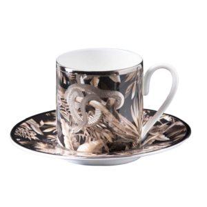 Tropical jungle black espresso cup & saucer