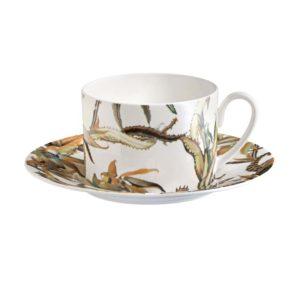 Tropical flower teacup & saucer set